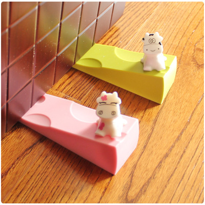 2016 1 pic wach protect child Cow cartoon kids safety door stop baby splines creative windproof door plug of silica gel TAQ34