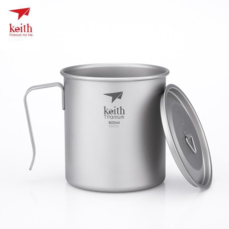 Keith tasse en titane tasse à café monocouche pour Camping randonnée voyage Exploration avec couvercles ultraléger 97g 600 ml Ti3267