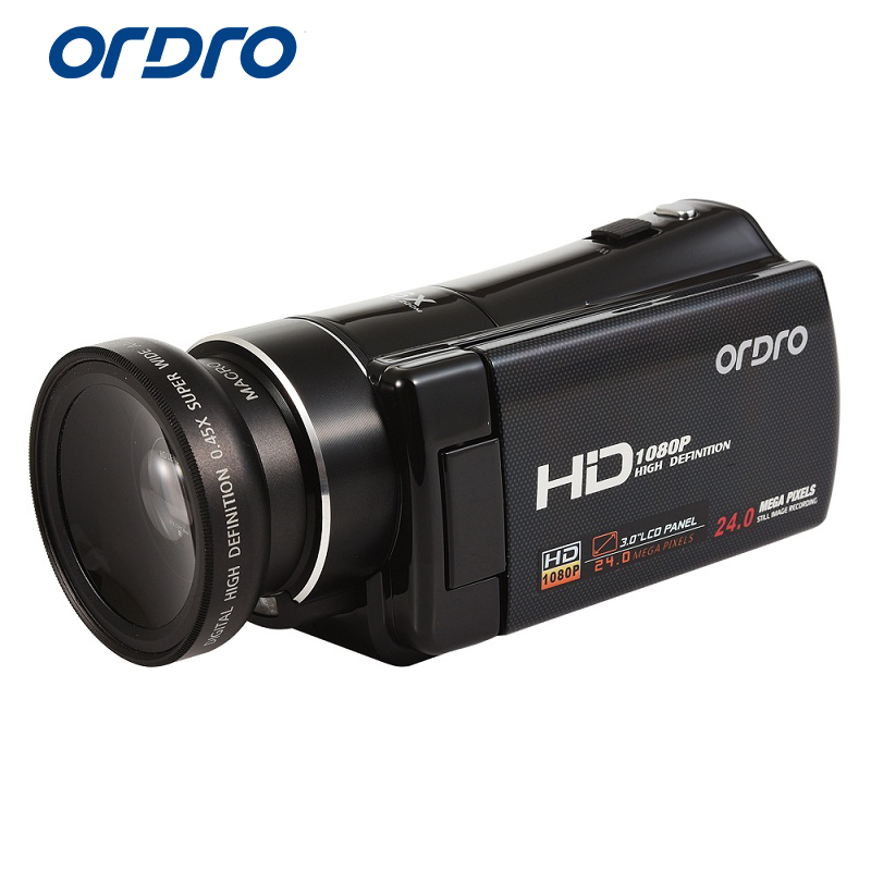 Ordro Official Store Ordro Digital Video Camera HDV-V7 1080P 30fps FHD Camcorder with Wide Angle Lens and Micro Lens Kit Remote Control HDMI Output
