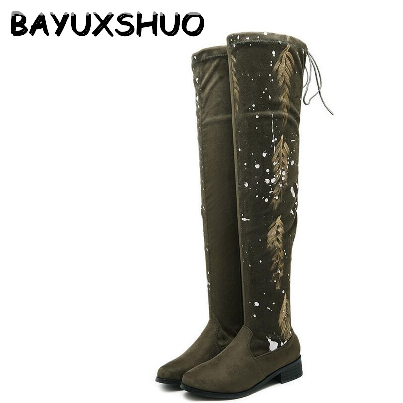 BAYUXSHUO NEW Women Over the Knee Boots Stretch Faux Suede Thigh High Boots Sexy Female Classic Graffiti Crude Heel Shoes Woman women stretch fabric faux suede patchwork sexy thigh high boots comfort block heel female footwear slip on flower printed shoes
