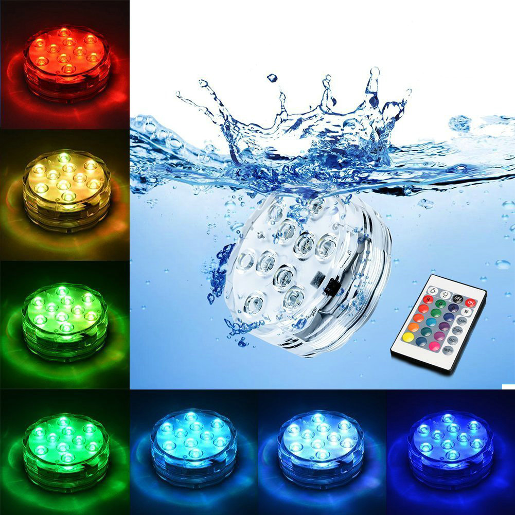 Underwater Submersible Vase 10 Led Remote Controll Rgb Candle Light Battery Operated Night Lamp
