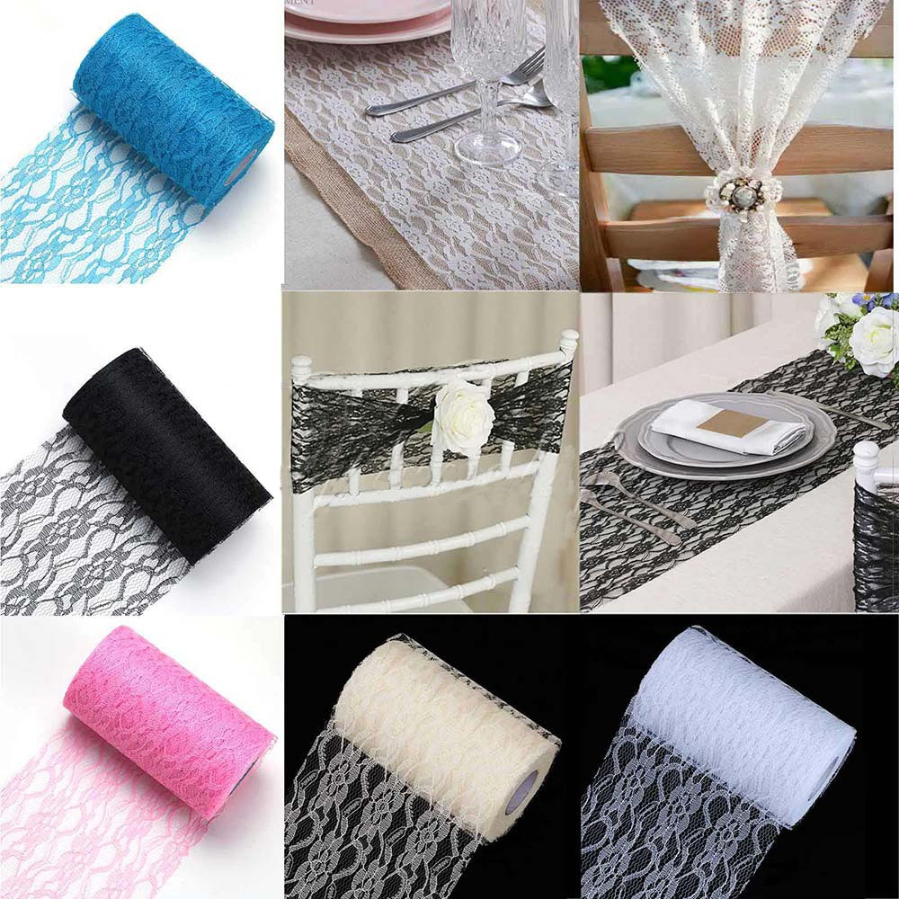 22m Lace Tulle Roll Chair Sash Table Runner Tulle Fabric Spool Party Birthday Wedding Organza
