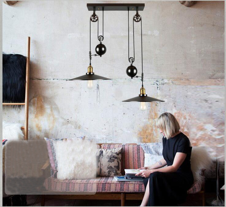 buy 2 head nordic industrial style creative pendant light vintage iron pulley hanging lamp barcafe adjustable pendant light fixture from