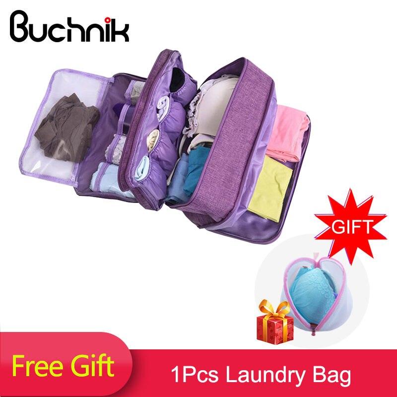 BUCHNIK la ropa interior de las mujeres bolsas de viaje portátil compartimento lavado cosmética de organizador de ropa de moda sujetador de almacenamiento de accesorios