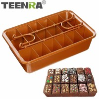 TEENRA Non stick Baking Pan With Built In Slicer Cooper Oven Baking Tray Square Stainless Steel Baking Pan Crispy Edges Bakeware