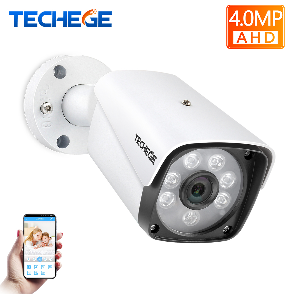 Techege 4.0MP AHD Camera CCTV Bullet Camera HD Waterproof Metal Housing Night Vision Security Camera For 4MP AHD System