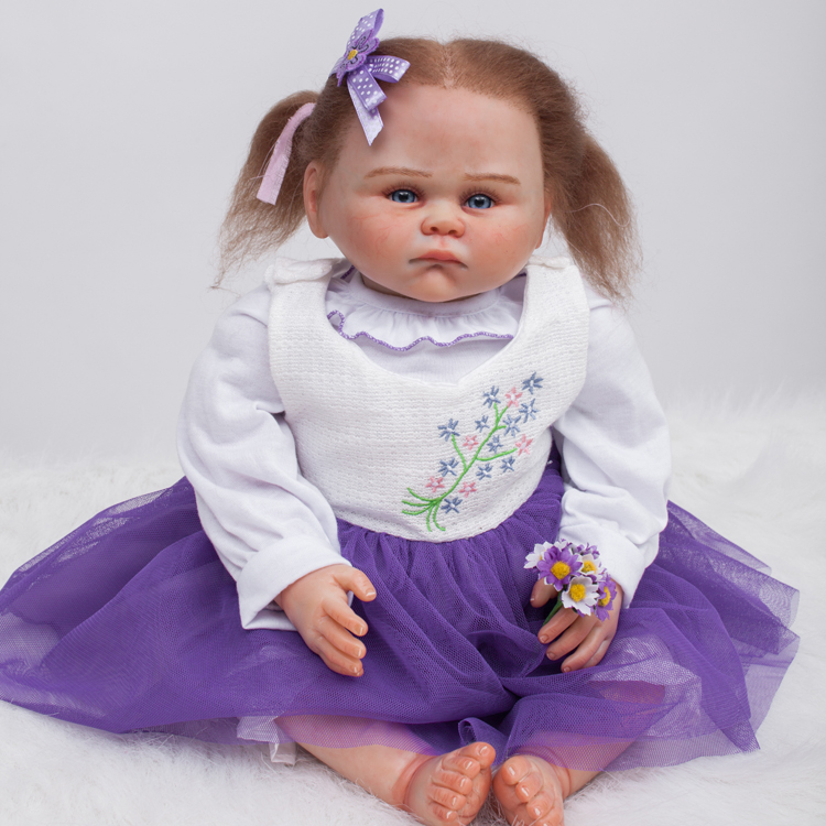 20  Silicone reborn babies dolls for girls toys lifelike newborn baby bonecas with purple dress high quality bebe gift reborn new design silicone reborn dolls 52cm lifelike baby reborn newborn toys for children gift bonecas