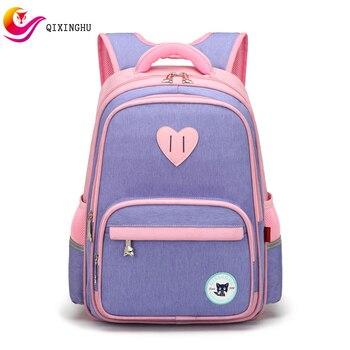 QIXINGHU Brand School Bag Oxford Reflective Strip Boy Girl schoolbag Primary School Backpack Kid Bookbag High capacity Bag Pack