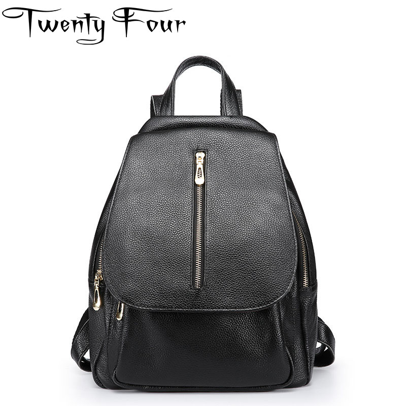 Twenty-four Women Backpacks Genuine Leather Designer Lady Backpack For Teenager Girl School Bag With Cowhide Cover Mochilas Bag yjgjz house fashion serpentine women leather backpack luxury brand designer back bag for teenager girl high school students bag
