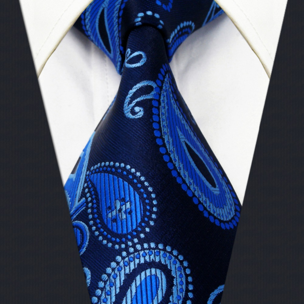 63e00bfc328f Extra long size Paisley Navy Dark Blue Mens Neckties Ties 100% Silk  Jacquard Woven Suit Gift For Men Fashion hanky