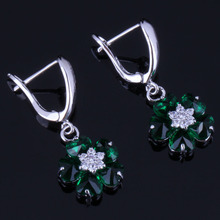 Attractive Flower Green Cubic Zirconia White CZ 925 Sterling Silver Drop Dangle Earrings For Women V0768 extremely attractive dangling earring blue green and clear oval cut stones of cubic zirconia big round dangle pendant earrings