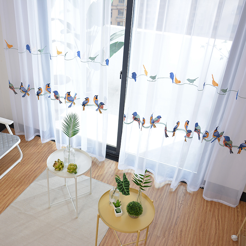 Image 5 - Cotton Linen Curtains for Living Room Bedroom Pastoral Curtain  with Embroidery Birds White Tulle Sheer Curtain Window  TreatmentCurtains