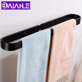 Towel Bar Single Black Towel Rail Hanger Wall Mounted Towel Rack Hanging Holder Aluminum Slipper Rack Bathroom Accessories 61cm single towel bar towel holder towel rack solid brass