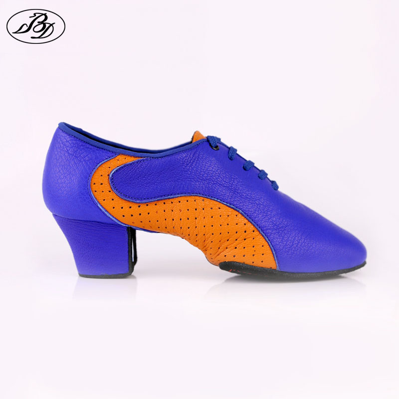 Hot Sale Women Teaching Dance Shoe 454 Blue Orange Soft Genuine Leather Shoes Latin Ladies Dancesport