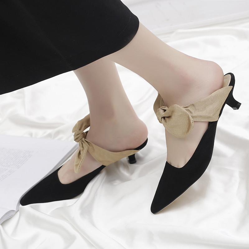 Okhotcn Spring Women Pumps with Butterfly-knot Lace-up Pointed Toe Ladies Mules Spike Heels Casual Shoes Female sapato feminino цена и фото