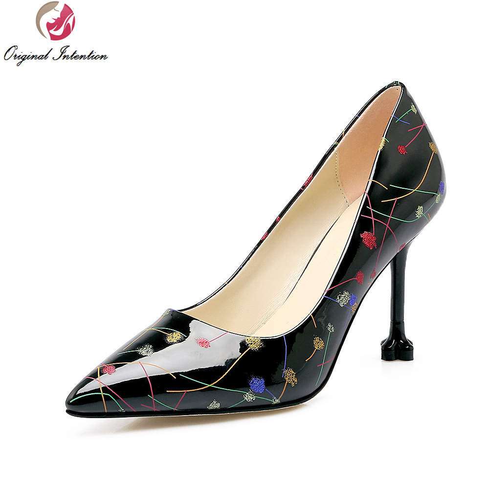ФОТО Original Intention New Arrival Women Pumps Sexy Pointed Toe Thin Heels Pumps Elegant Black White Shoes Woman Plus Size 4-10.5