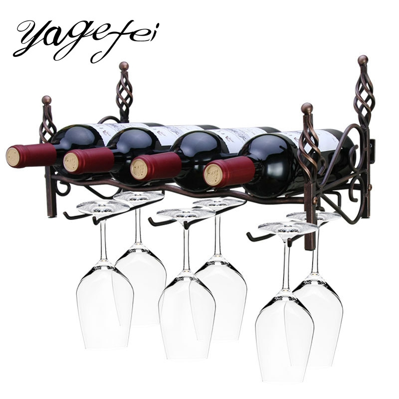 Creative Wine Rack Wine Holder Kitchen Bar Wall Decor Display Storage Shelf Hanging Shelf Barware Supplies