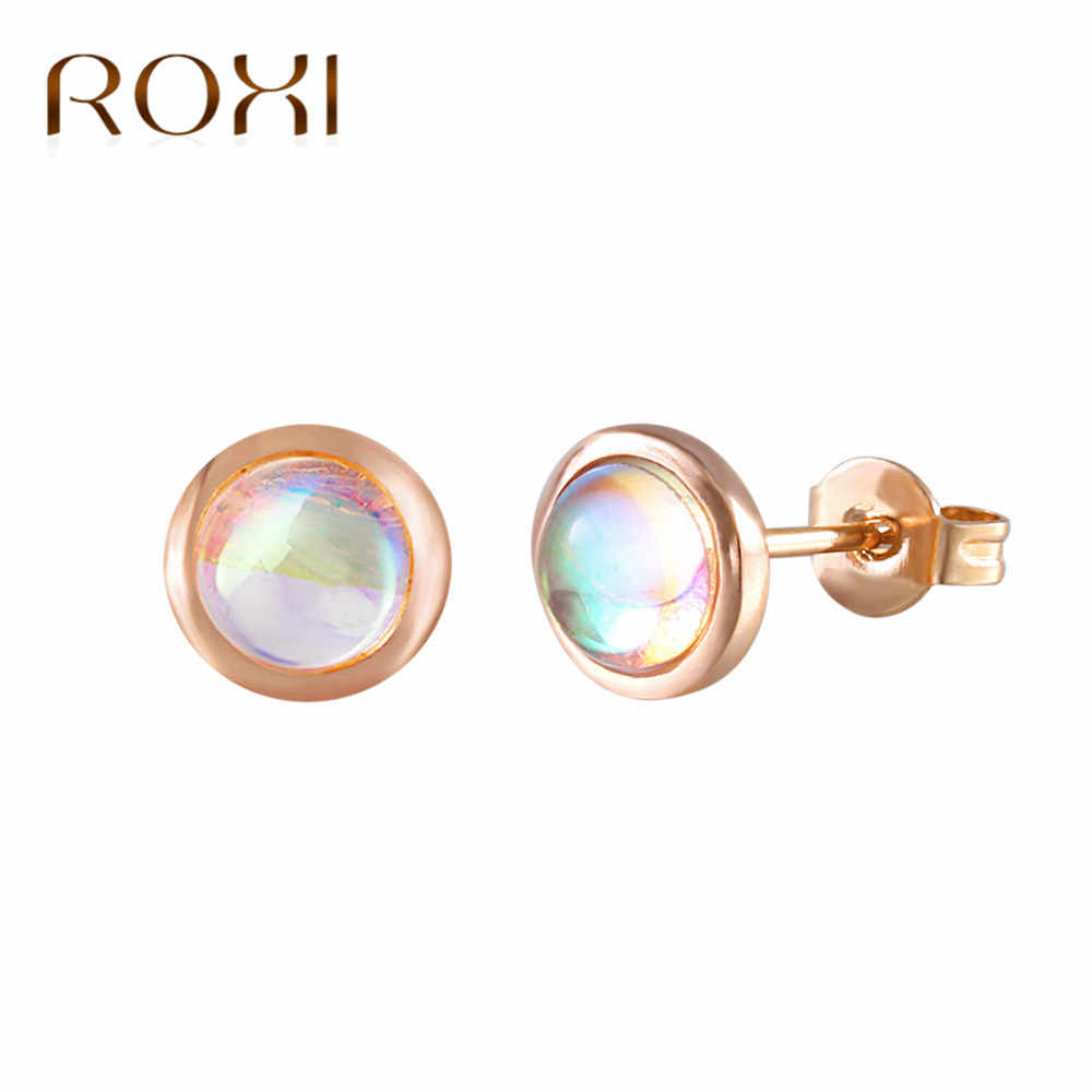 BOAKO New Fashion Trend Moonstone Earrings Brincos Oorbellen Simple Rose Gold Color Stud Earrings For Women Wedding Party Gift