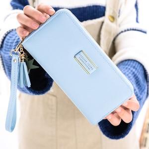 Image 4 - Новые женские кошельки MONNET CAUTHY, модные компактные вместительные Многослойные Карманы для сотового телефона, однотонные зеленые длинные кошельки