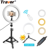 Travor USB Selfie Ring Light 10 With Tripod Phone Holder Bluetooth Dimmable Ring Lamp For Youtube Video Live Photo ringlight