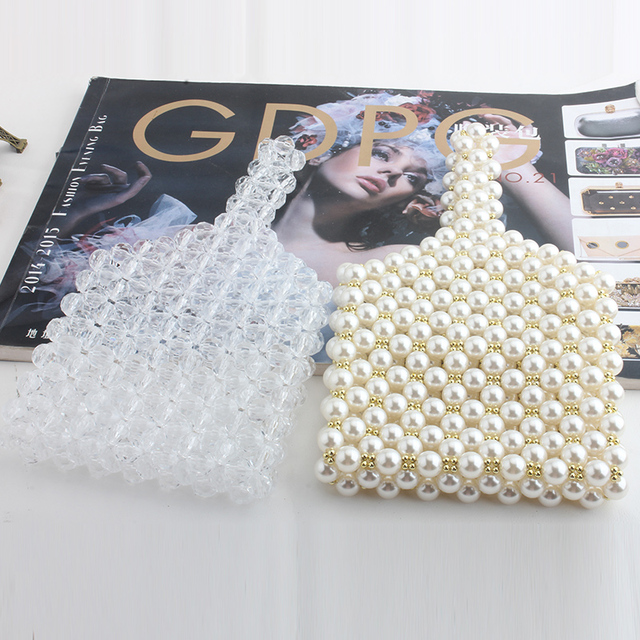 fashion pearl bag beaded box totes bag women party vintage handbag 2019 summer luxury brand white clear wholesale drop shipping