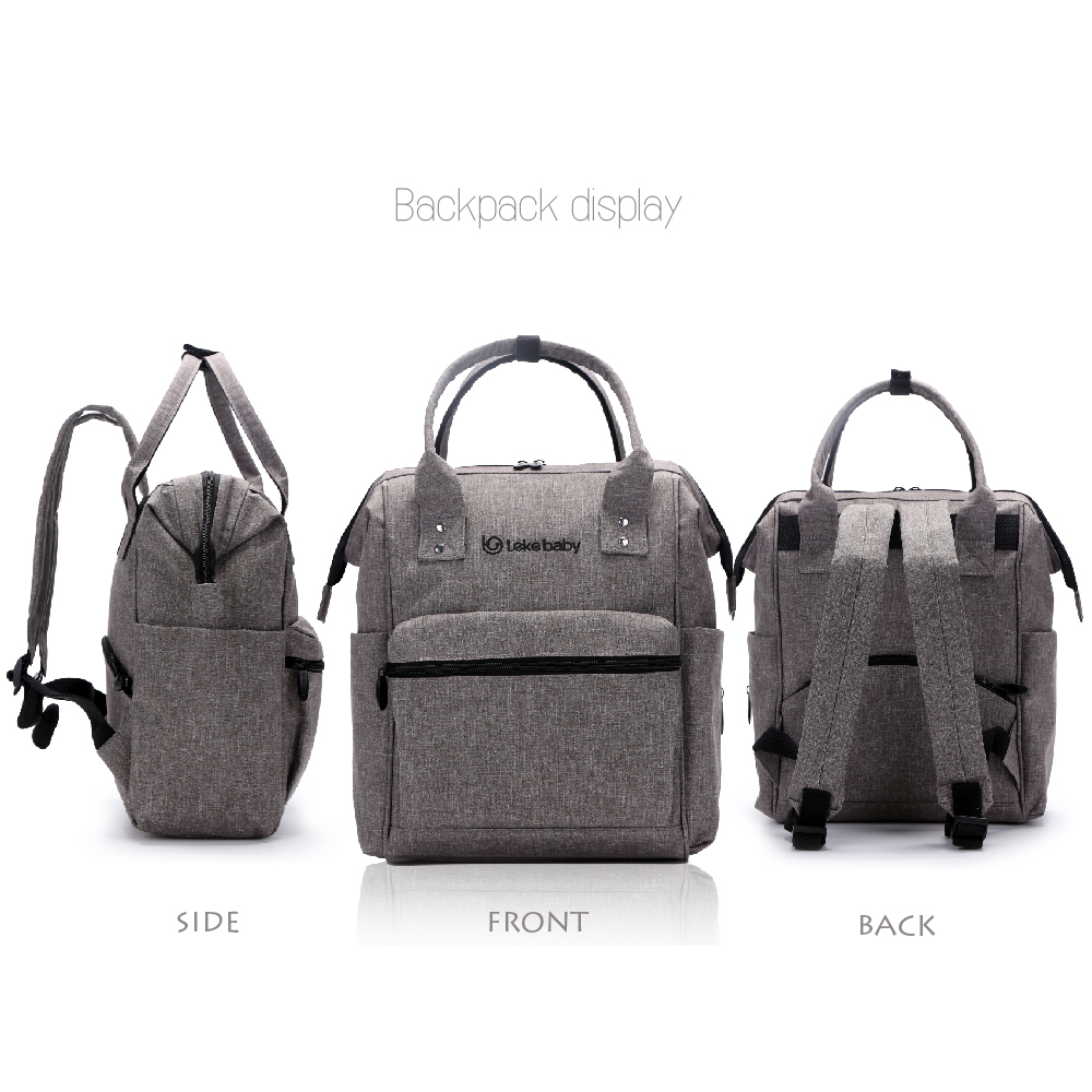 Lekebaby Oversized Opening Diaper Bag Backpack Built-in Steel Ring Support Nappy Tote Bag Large Capacity for Travel Outdoors