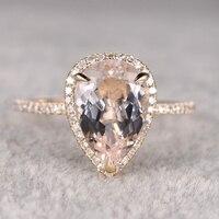 BIG 10x12mm Morganite Engagement Ring Yellow Gold Topaz Wedding Band 14k Pear Shaped Cut Gemstone Promise