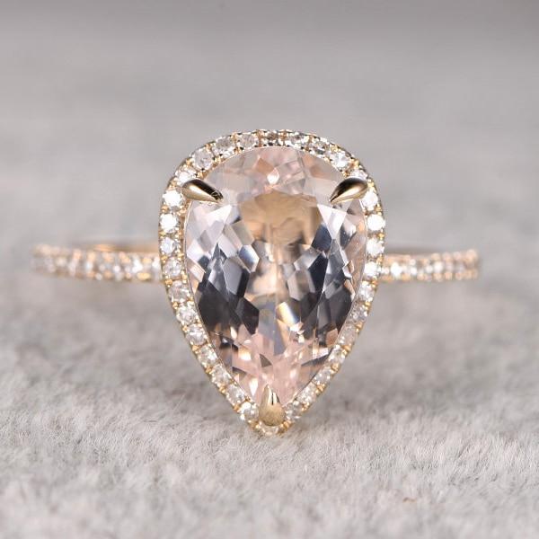 10x12mm 3CT Morganite Rings For Women Engagement Ring 14k Yellow ...