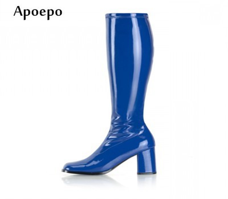 New Cheap Price Candy Color PU Leather Boots for Woman 2018 Fashion Thick Heels Knee High Boots Big Size High heel BootsNew Cheap Price Candy Color PU Leather Boots for Woman 2018 Fashion Thick Heels Knee High Boots Big Size High heel Boots