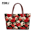 Brand Women Handbag Satchel Bags Rose Skull Printed Female Shoulder Bags Ladies Large Tote Bag Top-Handle Bag Bolsa Feminina