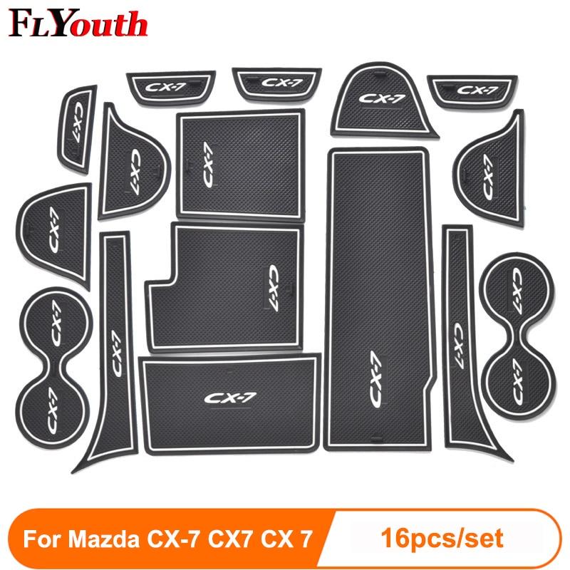 16pcs/set For Mazda CX-7 CX7 CX 7 3D Rubber Mat Non-slip Interior Cup Pad Door Groove Mat Car Door Mat Auto Accessories Styling