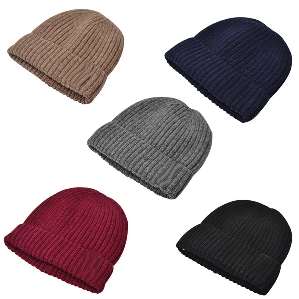 7795a31bba91a 2019 Knitted Thermal Hat Men Fleece Lined Woolen Hat Thickened ...