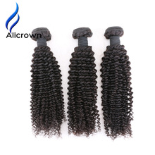 Alicrown Hair 1 Piece Kinky Curly Human Hair Bundles Weave Brazilian Remy Hair Natural Color Human Hair Weave 100g Double Weft