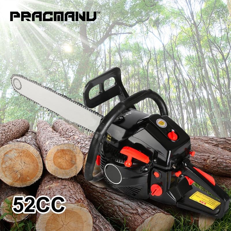 PRACMANU Gas Gasoline Powered Chainsaw 52cc 2-stroke Gasoline Chain Saw Wood Pruning Cutting
