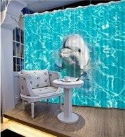 Пользовательские шторы 3d шторы для гостиной современные Синие Волны океана Дельфины синий шторы для гостиной 3D шторы