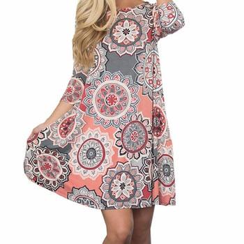 181f0daec0 Vestido de estampado Floral Boho Playa Las mujeres vestido de verano vestido  Retro Mandala bolsillos de Impresión de línea Mini vestidos Plus tamaño  GV135