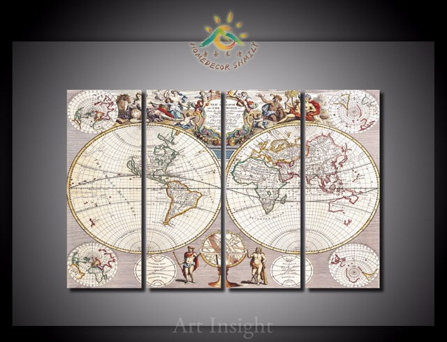4 piecesset old world map wall art for wall decor home decoration 4 piecesset old world map wall art for wall decor home decoration picture paint gumiabroncs Images