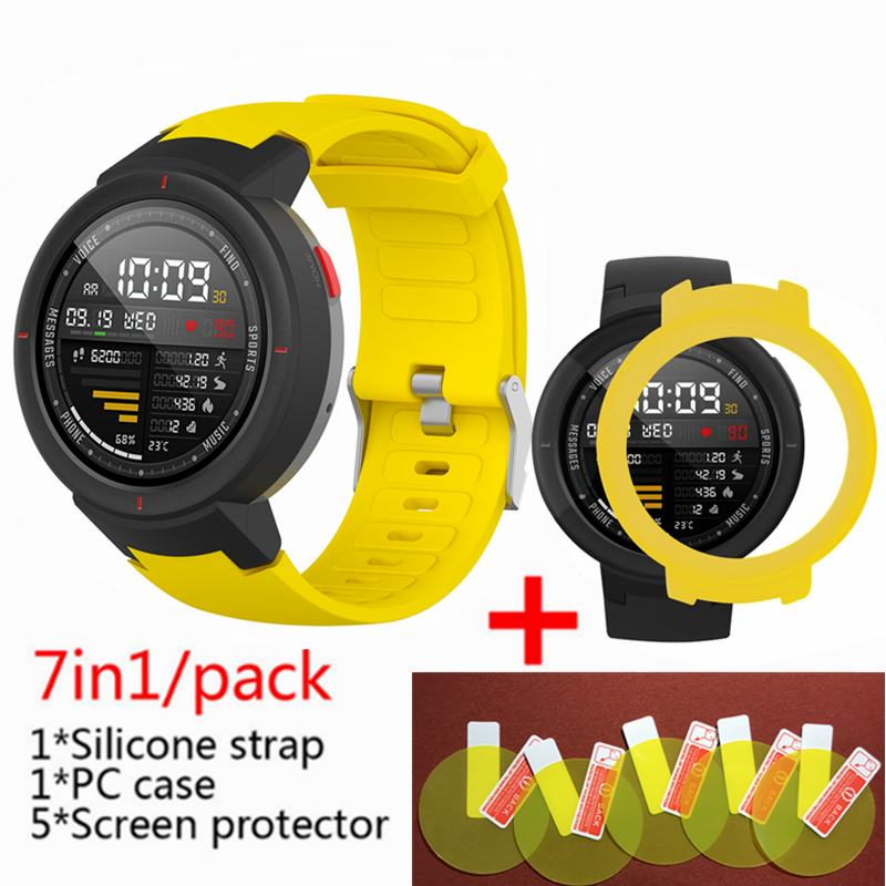 3in1 For Huami Amazfit Verge Strap Silicone Smart Watch Band +verge Frame Cases Cover Shell+amazfit Verge Screen Protector Film