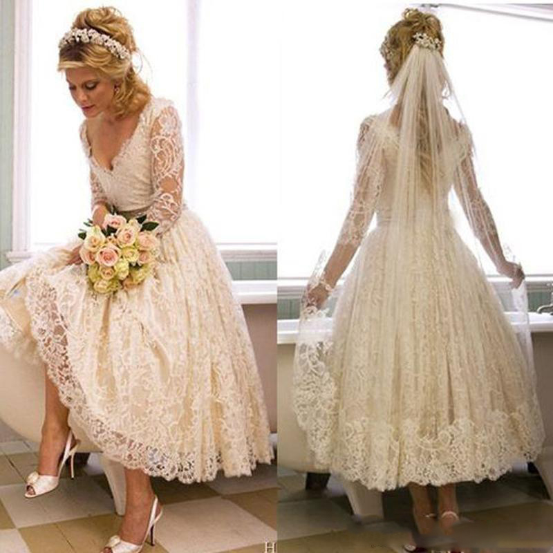 Vintage Lace 1950s Wedding Dresses 2019 Tea Length Country Style Short V Neck Bridal Gowns With Illusion 3/4 Sleeves Custom Made