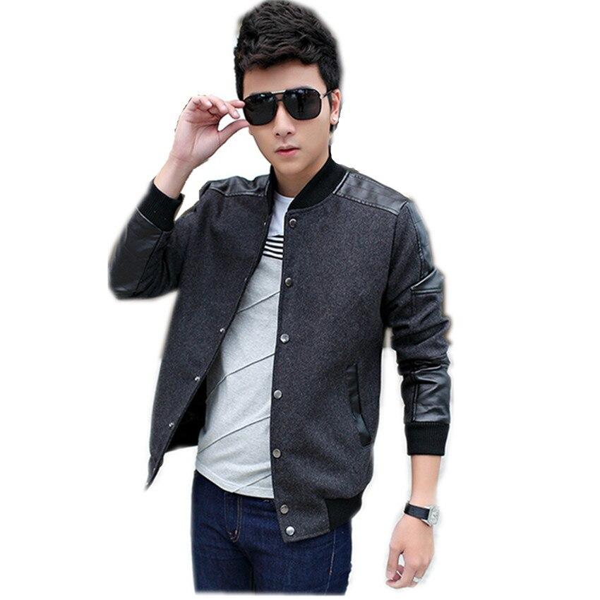 0e9ec69989a9e Tendencia chaquetas para hombre 2015 otoño remiendo de la chaqueta de lana para  hombre Slim Fit estilo coreano Blouson Homme Herren chaqueta 4XL en ...