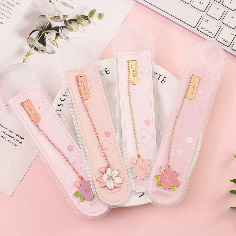 Cherry Sakura Pendant Bookmark Stationery School Office Supply Escolar Papelaria