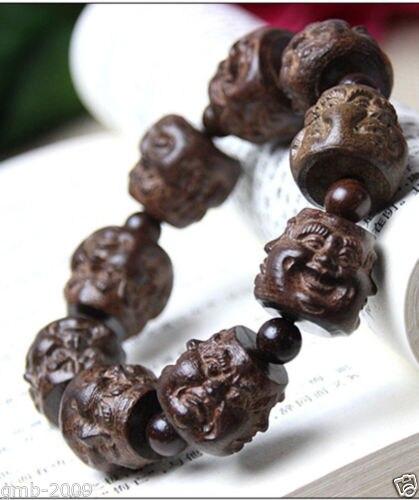 Rare Huge Carved Buddha Head Tibet Buddhist Prayer Beads Mala Bracelet