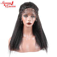Brazilian Kinky Straight Hair Wigs 250% Density Lace Front Human Hair Wigs Pre Plucked Hairline Remy Hair Sunny Queen Products