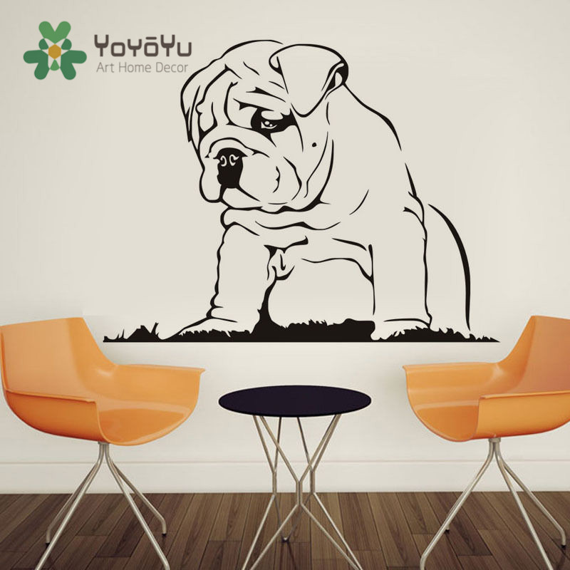 Removable Art Home Decor Languid Dog Vinyl Wall Sticker Bulldog Puppy Animal Wall Decal Home Decoration Art Mural NY-7