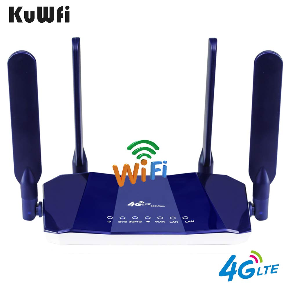 KuWfi 4G LTE CPE Router 300Mbps CAT4 Wireless CPE Routers Unlocked Wifi Router 4G LTE FDD RJ45Ports&Sim Card Slot Up To 32users