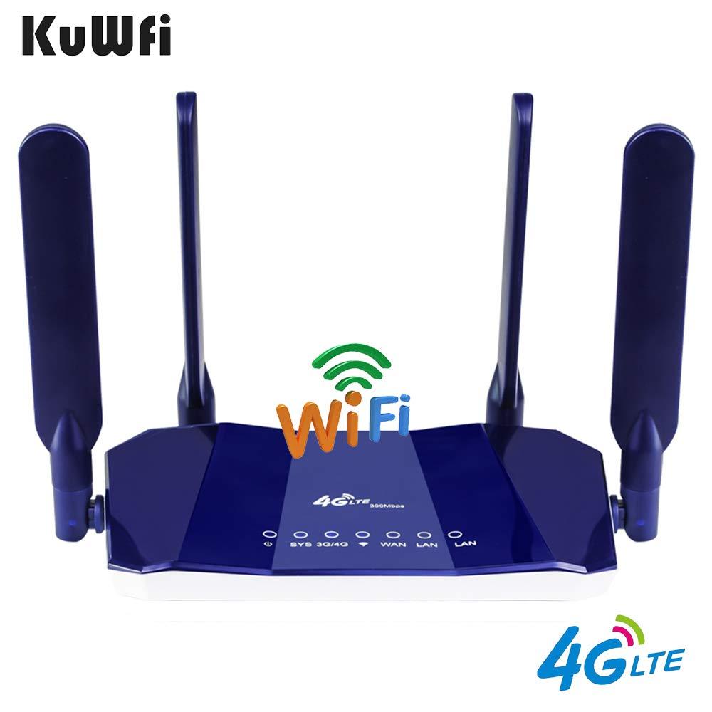 Routeur CPE KuWfi 4G LTE routeurs CPE sans fil CAT4 300Mbps routeur Wifi débloqué 4G LTE FDD RJ45Ports et emplacement pour carte Sim jusqu'à 32 utilisateurs