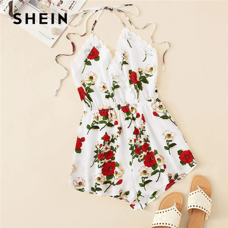 SHEIN Boho Lace Trim Knot Backless Floral Halter Sexy Romper Women Sleeveless V Neck Summer Romper Vacation Womens   Jumpsuits