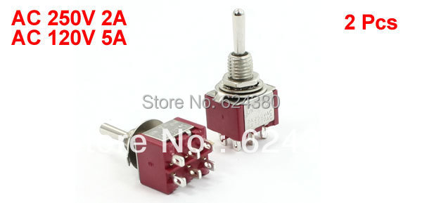 Momentary Toggle Switch DPDT 2P2T (ON)/OFF/(ON) Three 3 Position Non-Lock 6 Pin 2A/250VAC 5A/120VAC Discount x 2 Pcs / lots