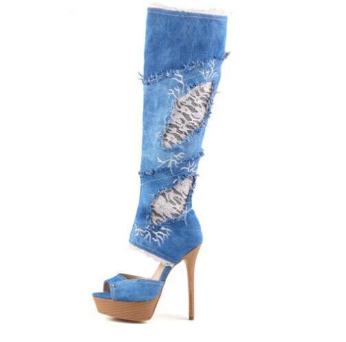 цена Autumn Newest Denim Blue Platform Knee high boots Sexy Flower Embroidery Cutouts Sandal Boots Peep Toe Jeans Boots