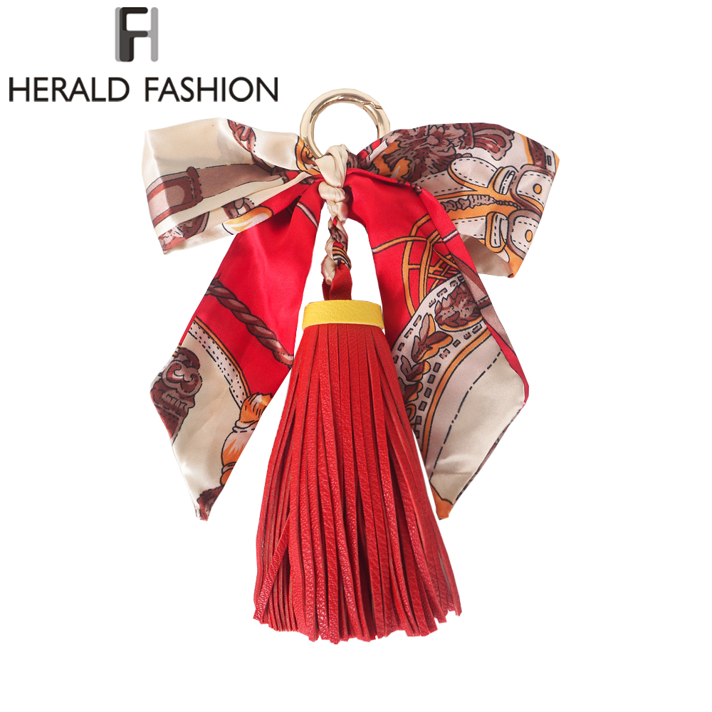 купить Herald Fashion Women Bag Adornment Ornament Tassel Fringe PU Leather Pendant for Buckle HandBag Bowknot Scarf Bag Accessories недорого